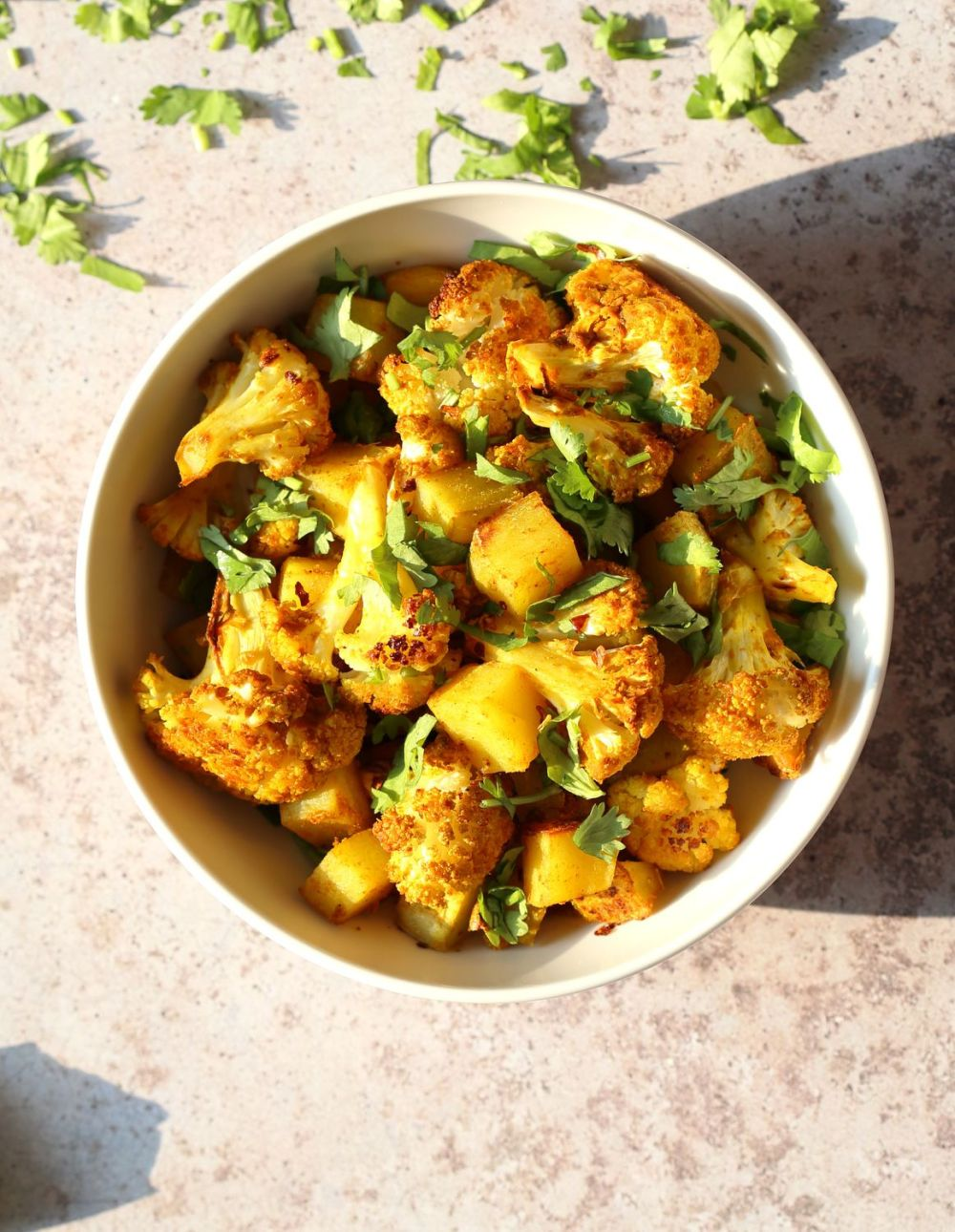 Baked Aloo Gobi - Indian Spiced Potato Cauliflower Side_ Tips for the Best Aloo Gobi Subzi that bakes perfectly every time! Vegan Glutenfree Soyfree Nutfree Recipe